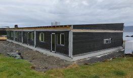 Row of 4 houses in Vopnafjörður, Iceland